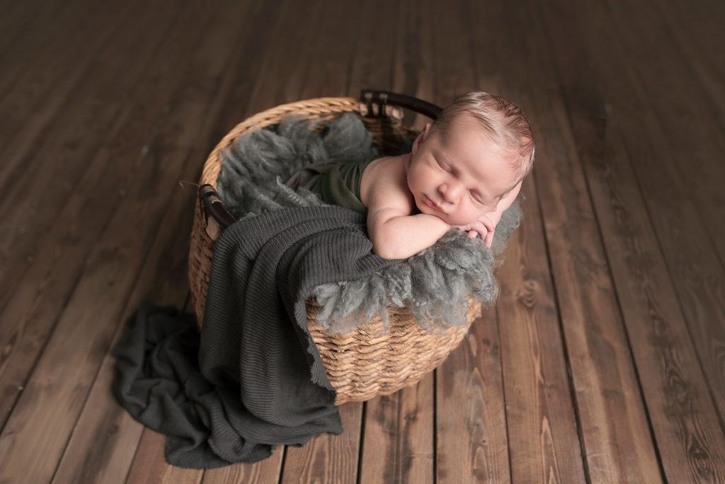 baby boy in basket Frisco TX Newborn Photographer